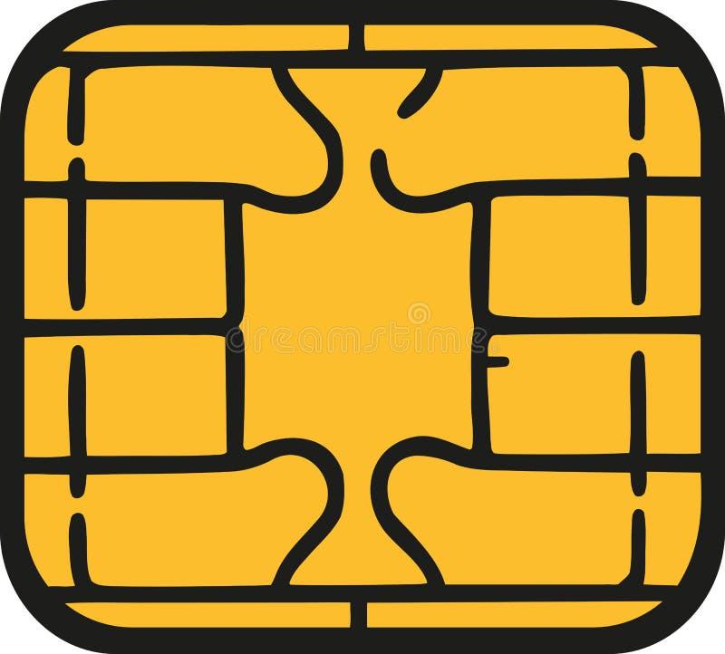 Microprocesador de la tarjeta de crédito - microprocesador de la tarjeta del sim libre illustration
