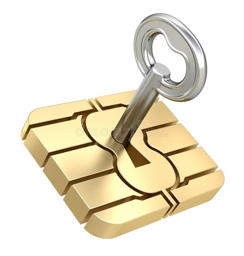 Microprocesador de la tarjeta de SIM con la llave stock de ilustración