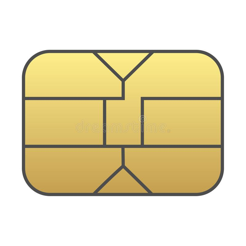 Microprocesador de la tarjeta de Sim aislado en el fondo blanco stock de ilustración