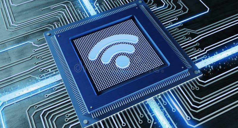 Microprocesador de procesador de la CPU con una conexión del logotipo y de red del wifi en a stock de ilustración