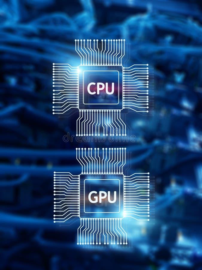 Microprocesador de procesador de la CPU y de GPU sobre fondo digital del datacenter stock de ilustración