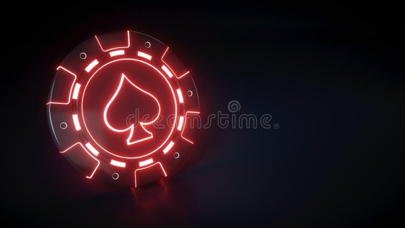 Microprocesador del casino con símbolo de neón de las luces rojas que brilla intensamente y de las espadas aislado en el fondo ne stock de ilustración