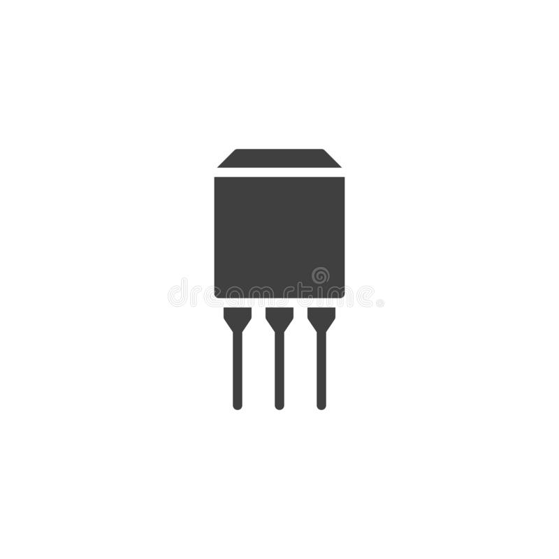 Microprocesador del semiconductor con el icono del vector de tres conexiones ilustración del vector