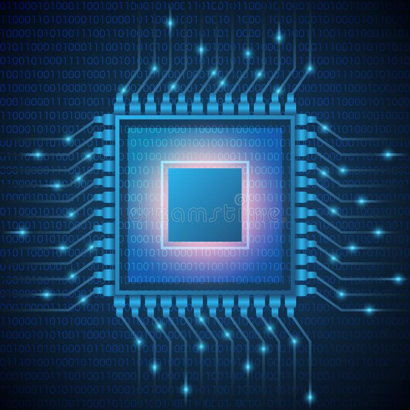 Microprocesador del sistema de procesador de la CPU del ordenador Los datos abstractos flujo c?digo binario en microchip de la ba ilustración del vector