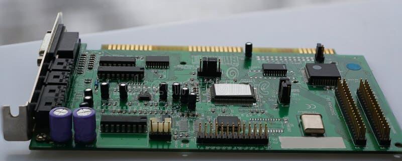 Microprocesador del tablero de madre del circuito de ordenador, cierre para arriba fotografía de archivo libre de regalías