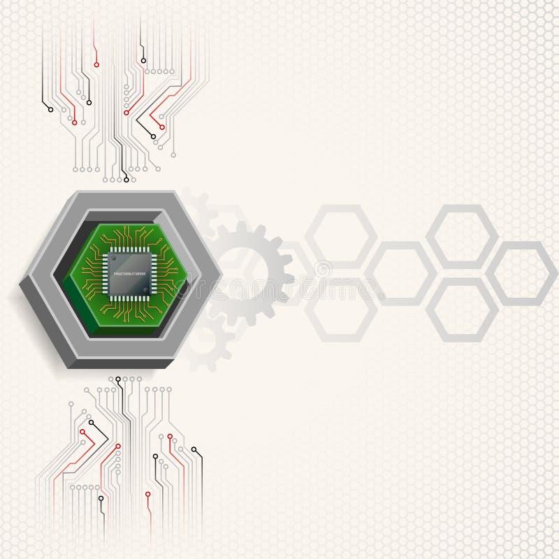 Microprocesador electrónico enmarcado por hexágono de tres dimensiones ilustración del vector