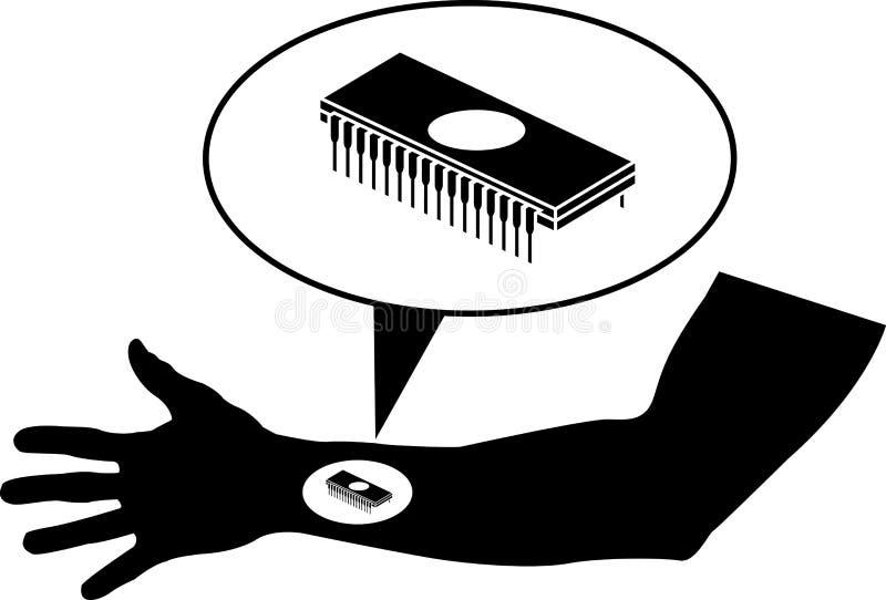 Microprocesador en brazo stock de ilustración