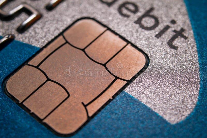 Microprocesador en tarjeta de crédito foto de archivo