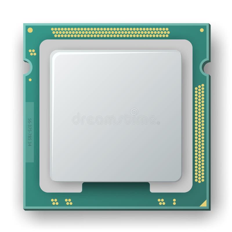 Microprocesador, microprocesador, icono de los componentes electrónicos stock de ilustración