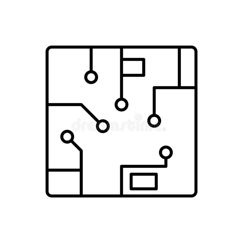Microprocesador, icono del ordenador - vector Inteligencia artificial stock de ilustración