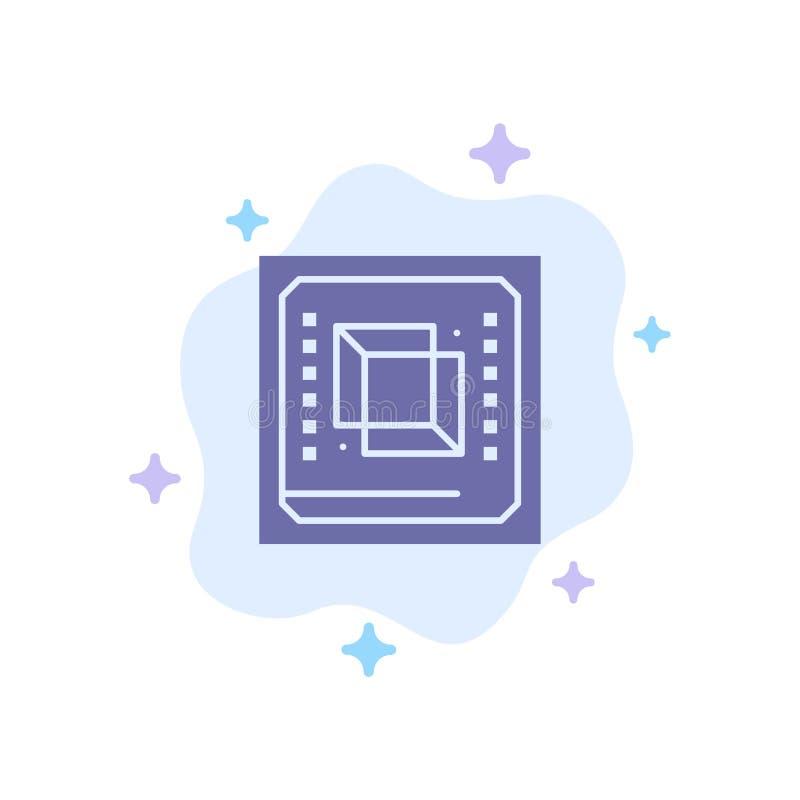 Microprocesador, ordenador, CPU, hardware, icono azul del procesador en fondo abstracto de la nube ilustración del vector