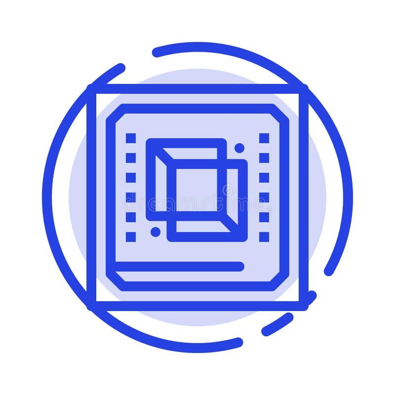 Microprocesador, ordenador, CPU, hardware, línea de puntos azul línea icono del procesador stock de ilustración