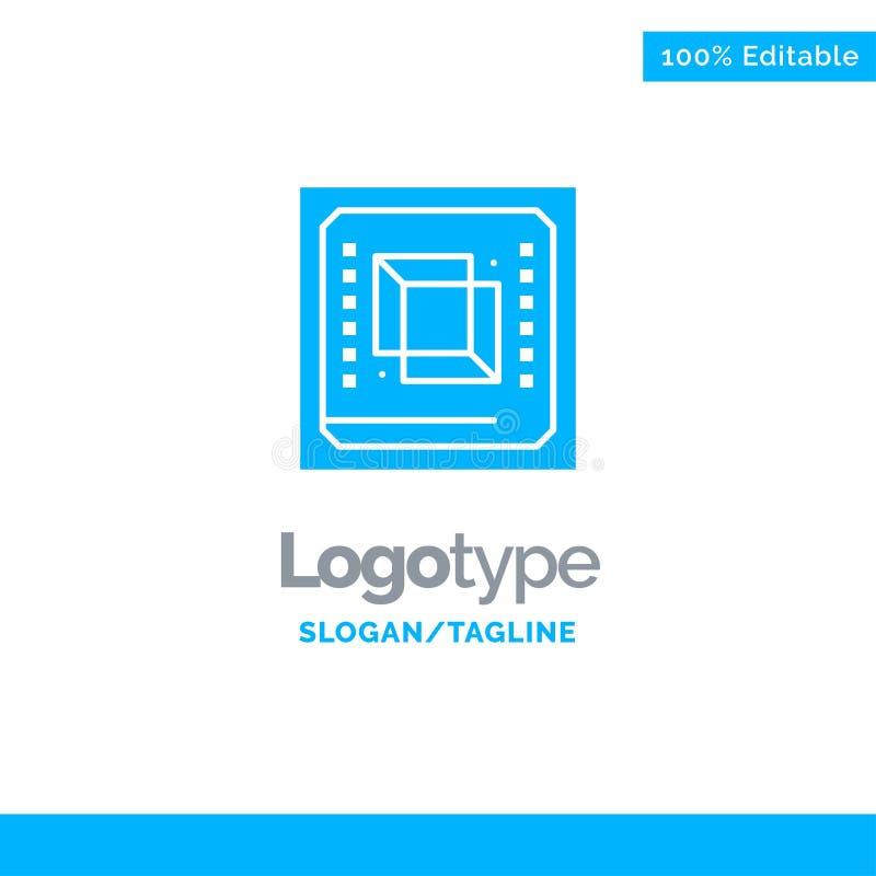 Microprocesador, ordenador, CPU, hardware, procesador Logo Template sólido azul Lugar para el Tagline libre illustration
