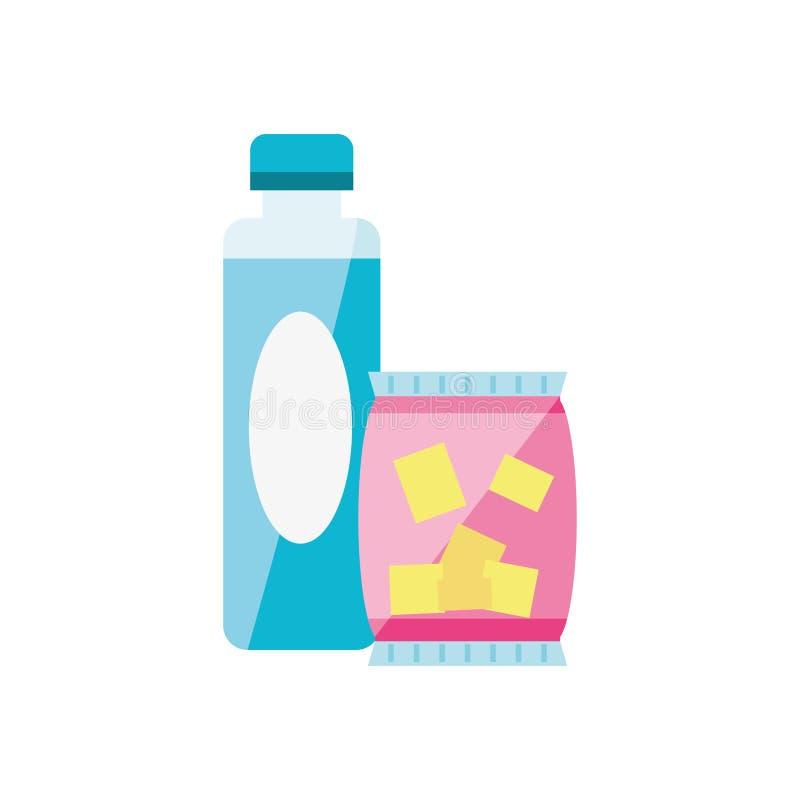 Microprocesadores del bocado con el icono aislado bebida de la botella stock de ilustración