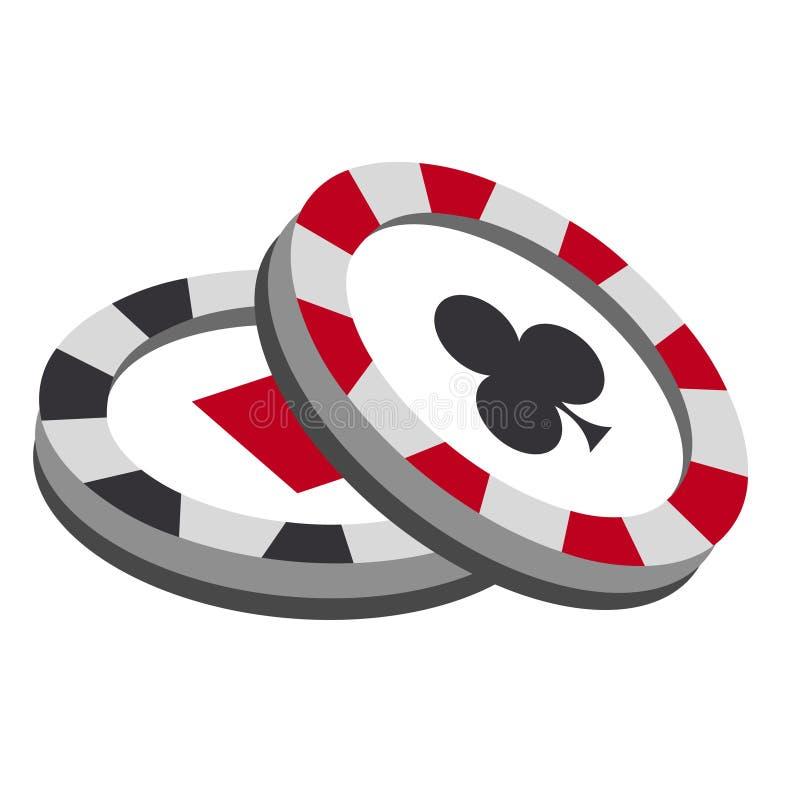 Microprocesadores del casino en el fondo blanco stock de ilustración