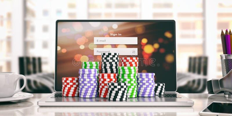 Microprocesadores del casino en un ordenador portátil - espacio de trabajo ilustración 3D ilustración del vector