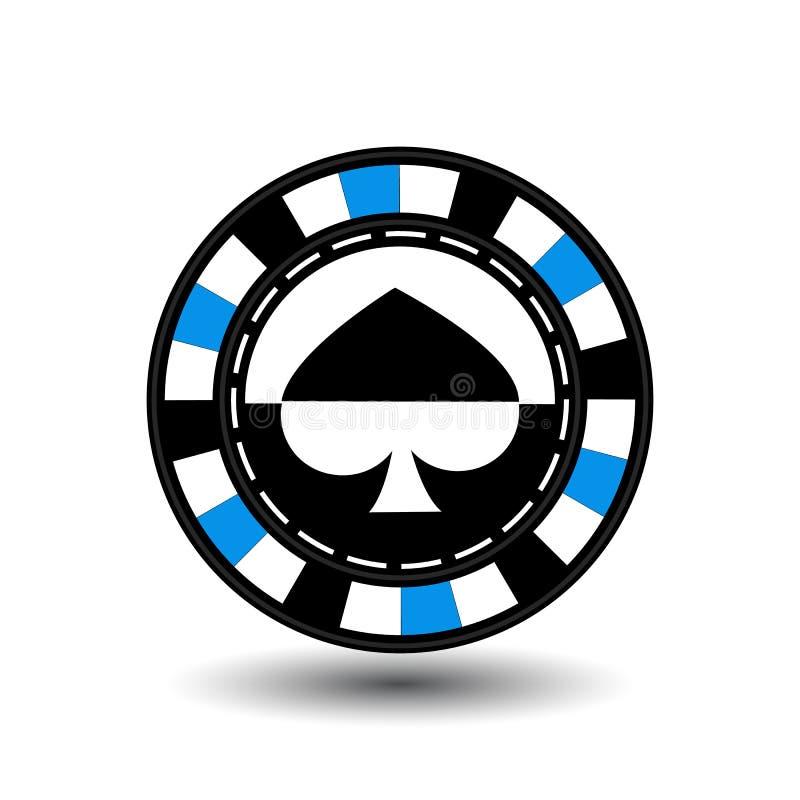 Microprocesadores para la espada azul del póker en el centro y los rectángulos con un lado línea de puntos del blanco redondo un  ilustración del vector