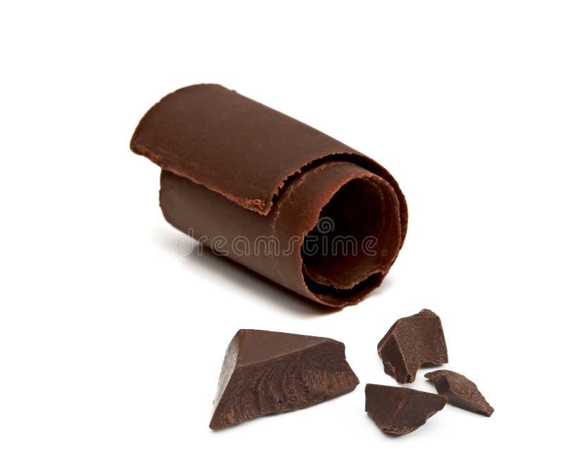 Microprocesadores, pedazos o piezas de chocolate con el rizo fotografía de archivo