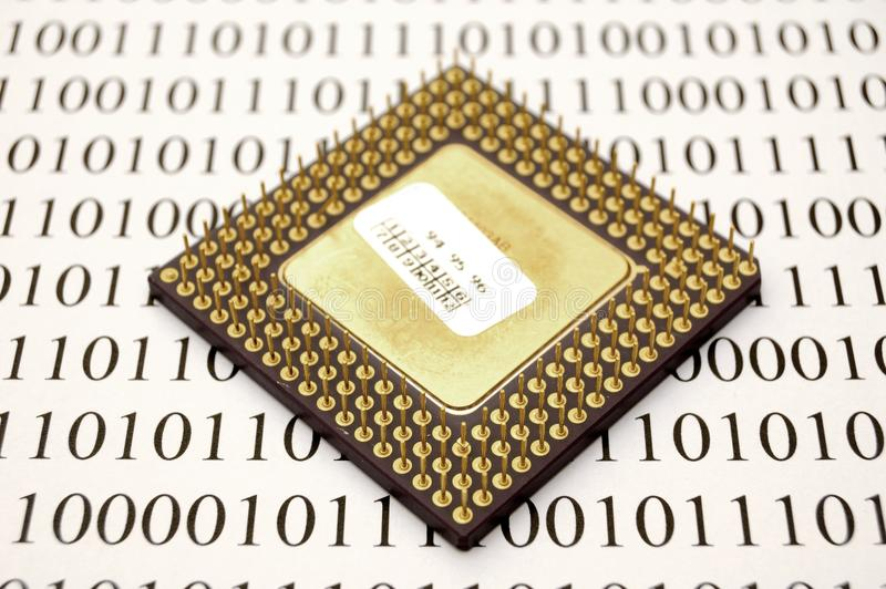 Microprocessor and binary code stock photography