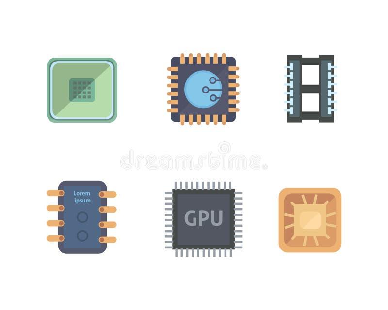 Microprocessor en Elektronische spaanderspictogrammen vastgestelde spaander vectorillustratie royalty-vrije illustratie