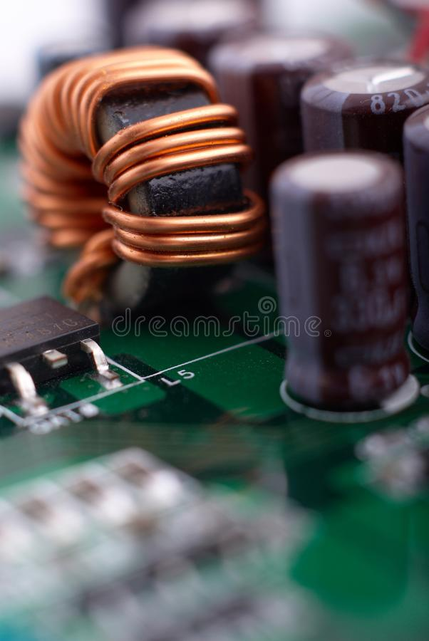 Microprocessor with motherboard background. Computer board chip circuit. Microelectronics hardware concept. stock photography