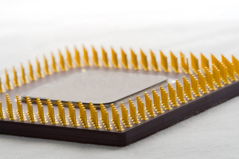 Microprocessor on protoboard royalty free stock image