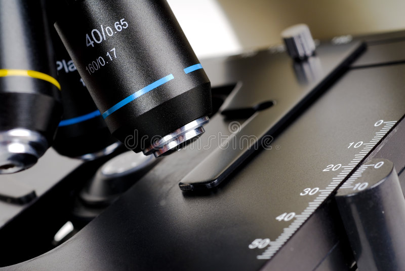 Microscópio ótico imagem de stock