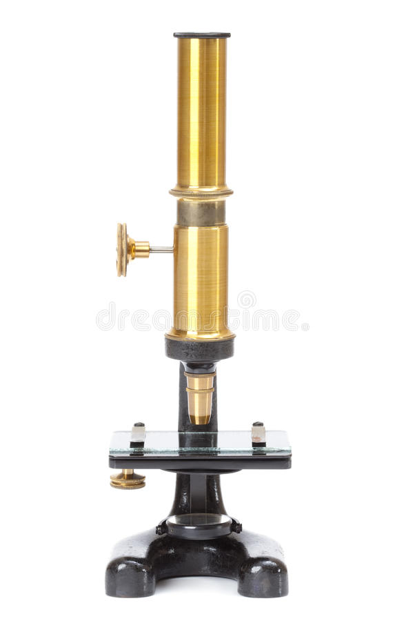 Microscópio antigo imagem de stock