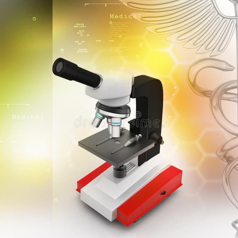 Microscópio com plaqueta e vírus ilustração do vetor