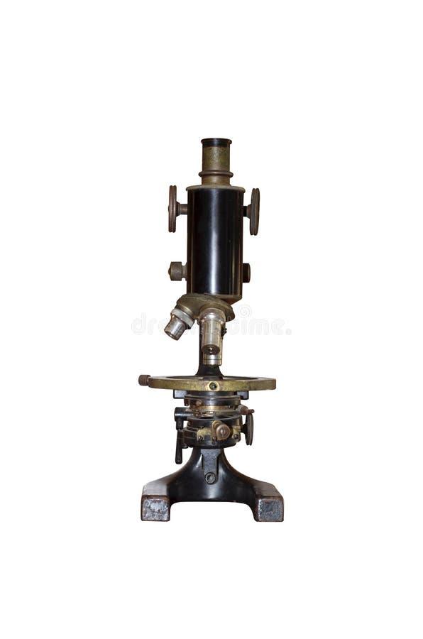 Microscópio preto e de bronze do vintage foto de stock