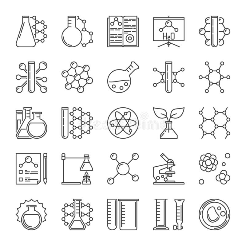Microscoop, Fles, Molecule en Chemielijn vectorpictogrammen stock illustratie