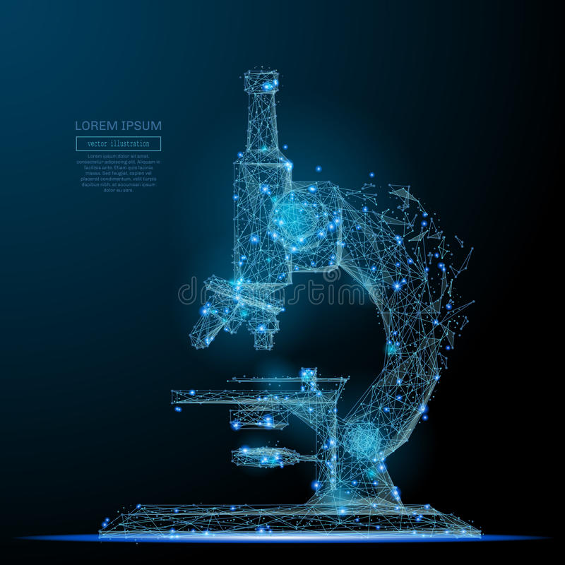 Microscoop laag polyblauw stock illustratie