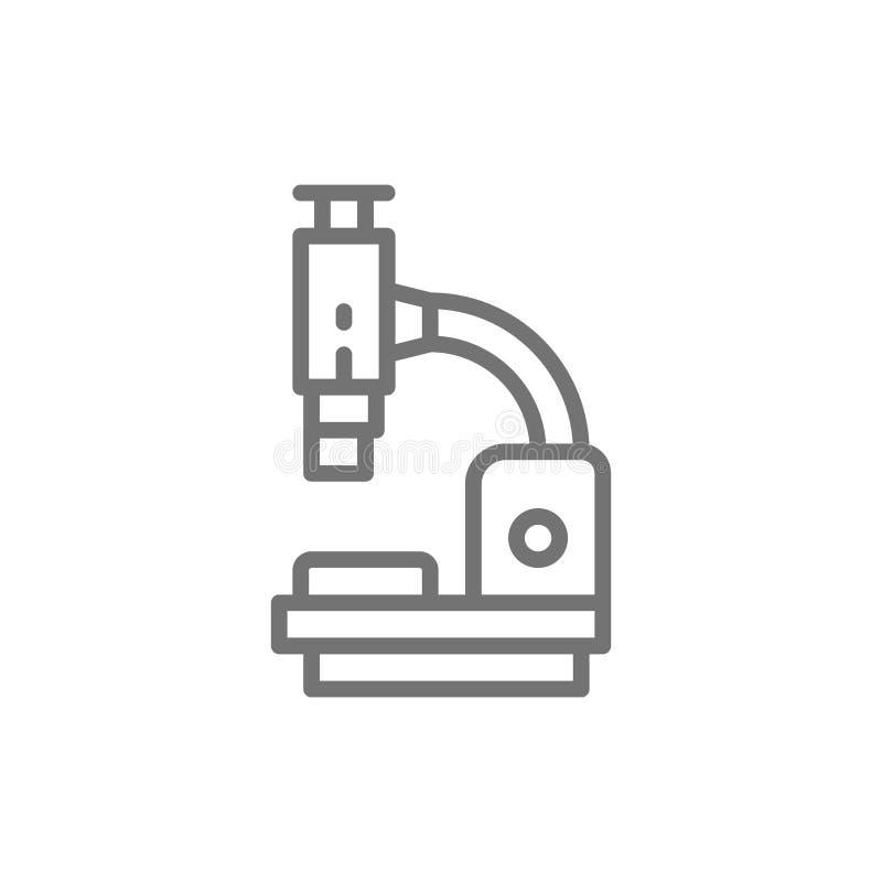 Microscoop, medische apparatuur, de lijnpictogram van het laboratoriumonderzoek vector illustratie