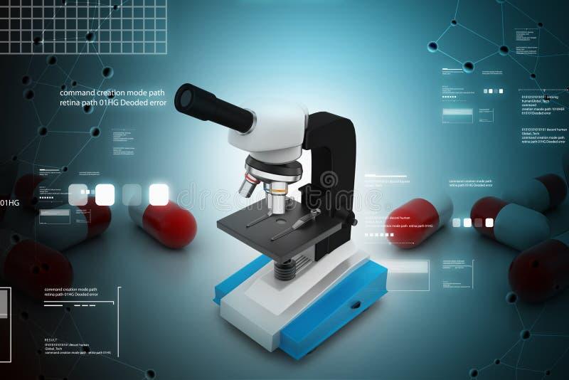 Microscoop op abstracte achtergrond vector illustratie
