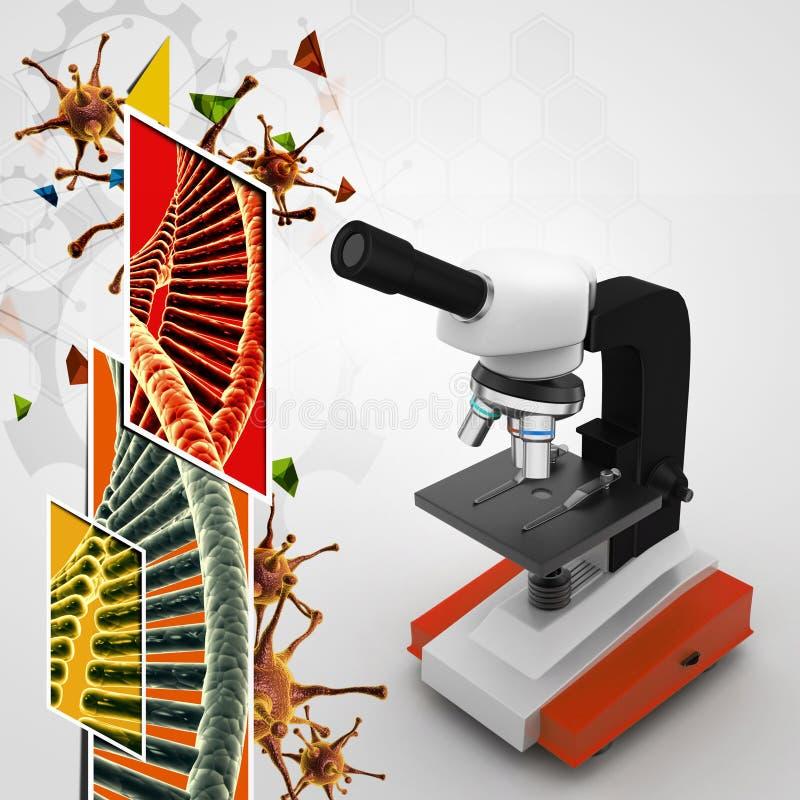 Microscoop op abstracte achtergrond stock illustratie