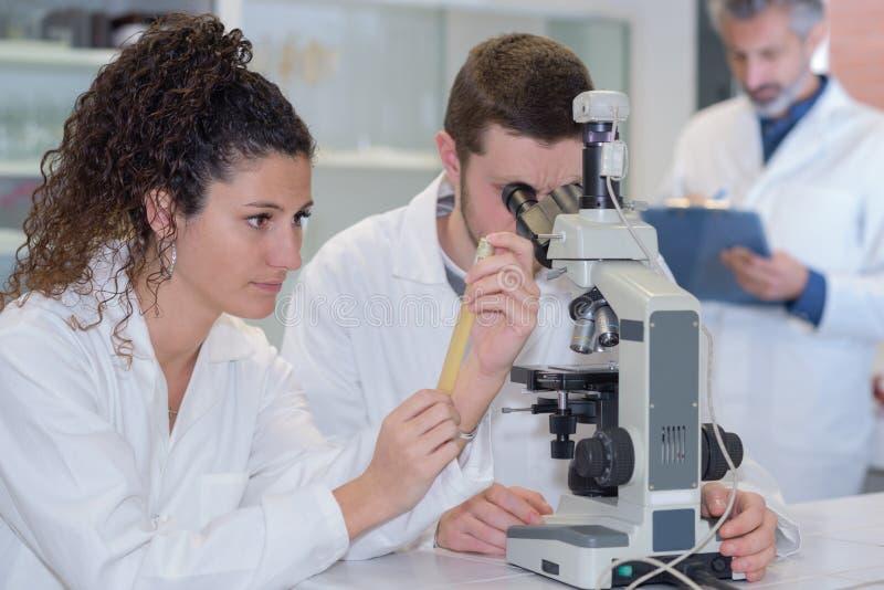 Microscoopintern en laboratorium stock foto