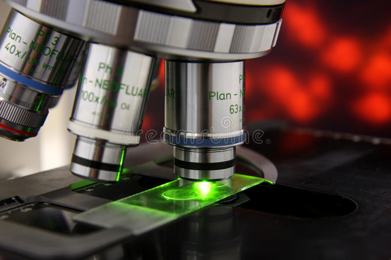 Microscope. A Microscope in a laboratory stock photos