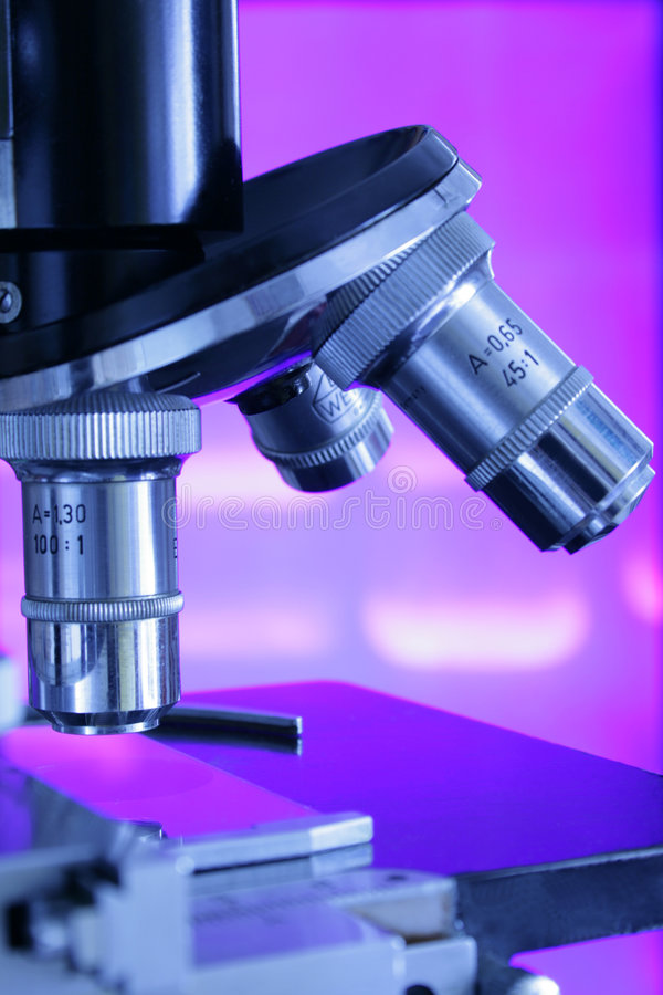Free Microscope Against Violet Electrophoresis Results Royalty Free Stock Images - 9218409