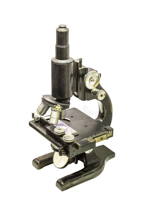 Microscope antique d'isolement image stock
