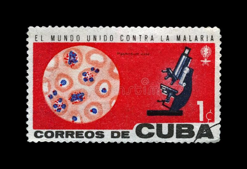 Microscope, blood, campaign to eradicate malaria, circa 1962.,. CUBA - CIRCA 1962: cancelled stamp printed in Cuba shows World Health Organization campaign to stock images