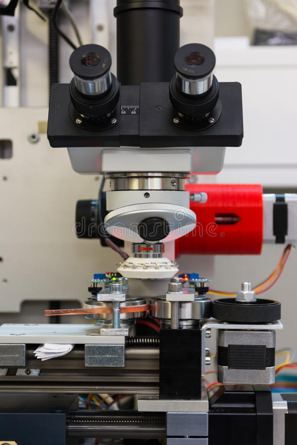 Microscope Camera Device Print Examine Industry Quality Machine. Tool White stock photography