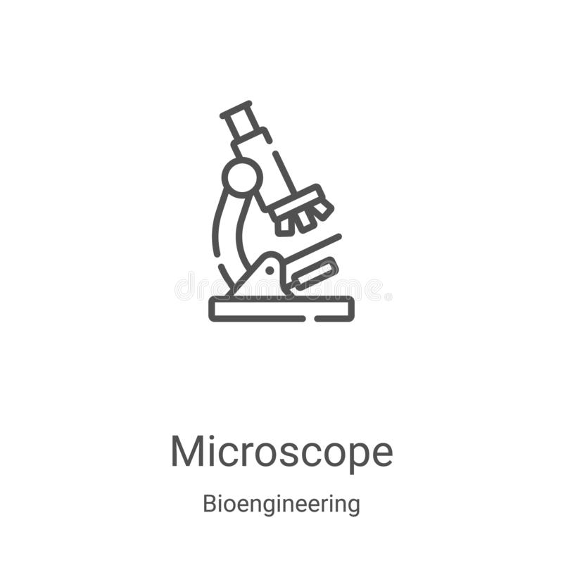 microscope icon vector from bioengineering collection. Thin line microscope outline icon vector illustration. Linear symbol for royalty free illustration