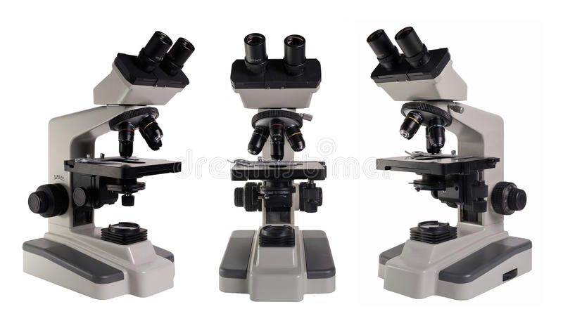 Microscope isolated under the white background stock photos