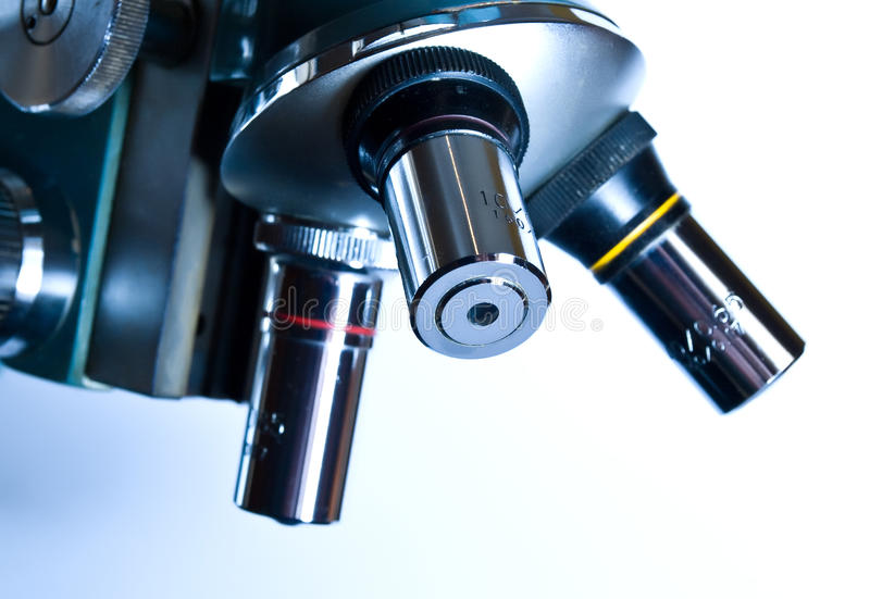 Microscope in the laboratory royalty free stock photos