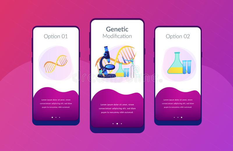 Genetic engineering app interface template. Microscope and scientists changing DNA structure. Genetic engineering, genetic modification and genetic manipulation stock illustration