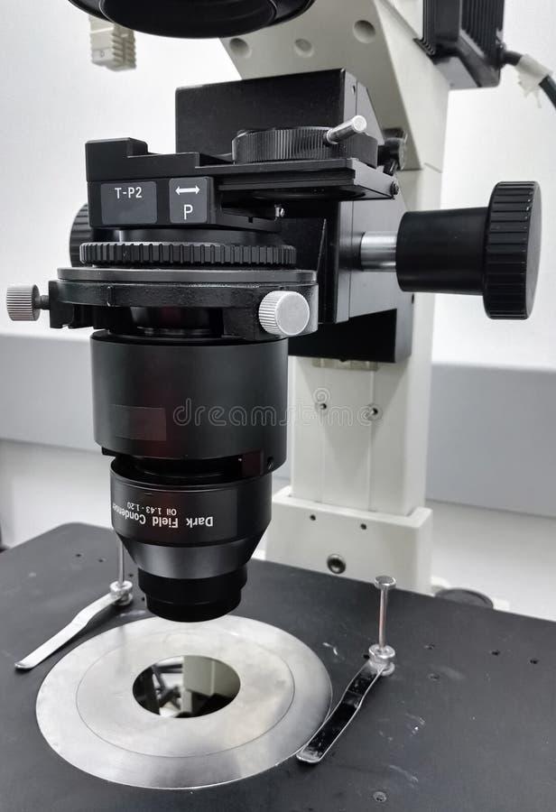 Microscopia del campo oscuro en microscopio invertido de la fluorescencia de alta tecnología imágenes de archivo libres de regalías