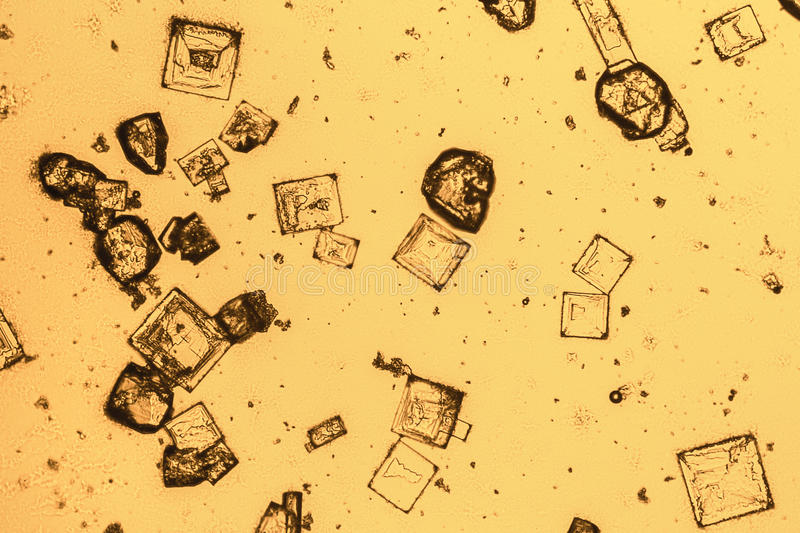 Microscopic microcrystal background. Microscopic shot showing some microcrystals in warm ambiance royalty free stock image