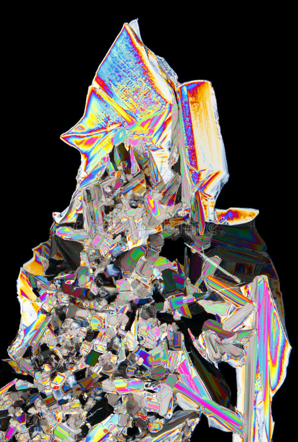 Microscopic View Of Potassium Nitrate Crystals In Polarized Ligh Stock Photography