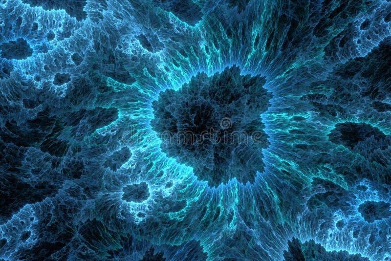Microscopic world. Blue microscopic world, fractal artwork stock images