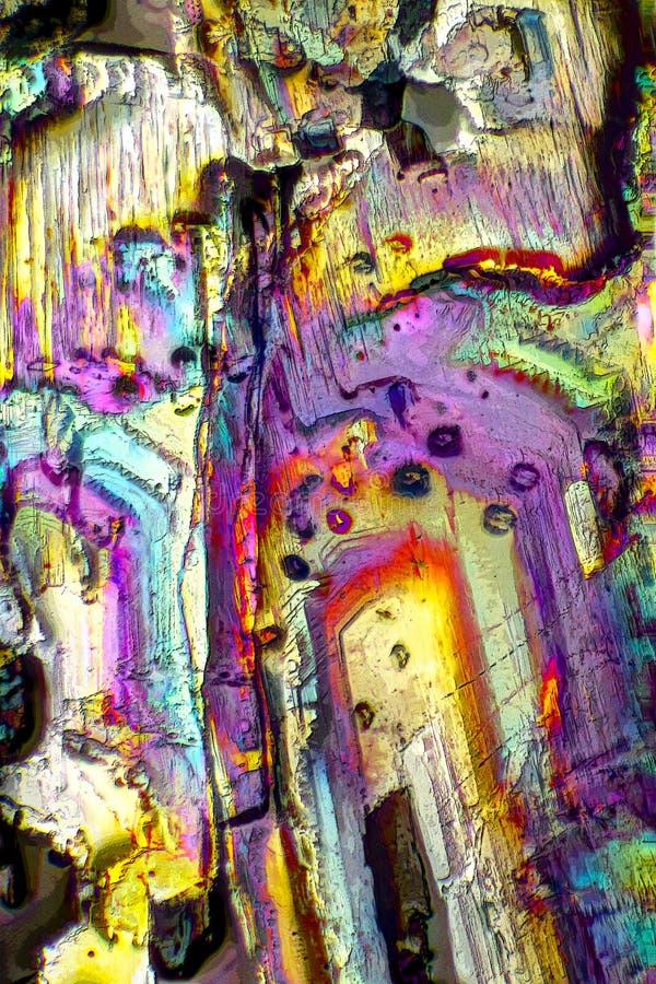 Microscopio-arte con los cristales ardientes stock de ilustración